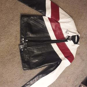 Wilson maxima leather jacket red black and white
